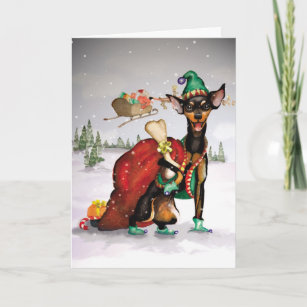 Moving santa holiday moving cards greeting photo cards zazzle dog elf miniature pinscher moving christmas card m4hsunfo