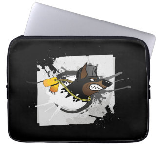 Dog emblem computer sleeve