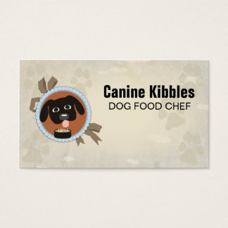 Dog emblem paw print pet food chef business card