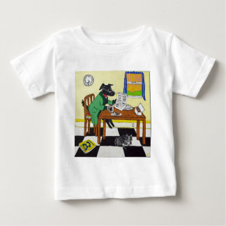 Dog Enjoying Coffee and Donuts Baby T-Shirt