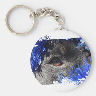 Dog eye Blue Tinsel christmas tree Frame Keychain