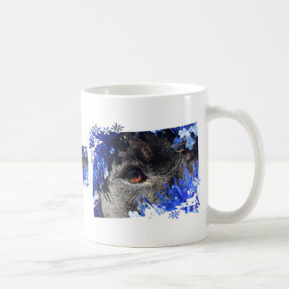 Dog eye Blue Tinsel christmas tree Frame Classic White Coffee Mug