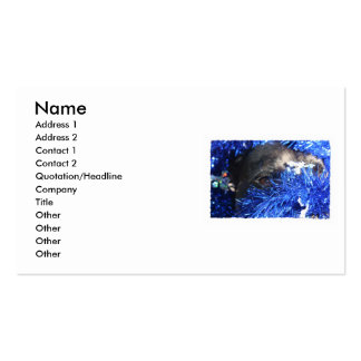 Dog Eye In Blue Christmas Tinsel Business Card Template