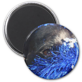 Dog Eye In Blue Christmas Tinsel Refrigerator Magnet