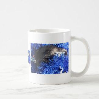 Dog Eye In Blue Christmas Tinsel Classic White Coffee Mug