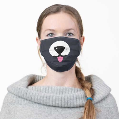 Dog face with nose and tongue dark grey fun cloth face mask
