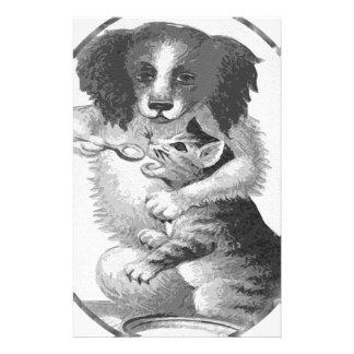 Dog feeding a cat stationery design