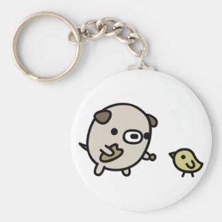 Dog Feeding Bird Keychain