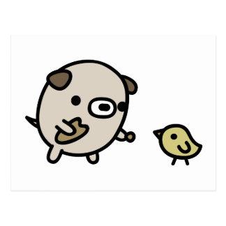 Dog Feeding Bird Postcard