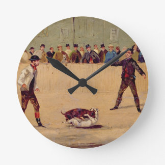 Dog Fighting (oil on paper) Wall Clocks