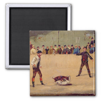 Dog Fighting (oil on paper) Magnet