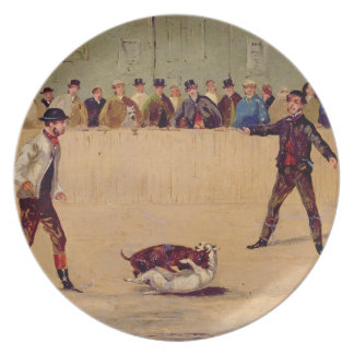 Dog Fighting (oil on paper) Dinner Plates