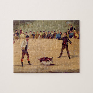 Dog Fighting (oil on paper) Jigsaw Puzzles