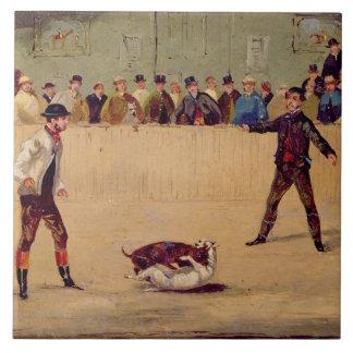 Dog Fighting (oil on paper) Large Square Tile