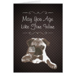 Dog & Fine Wine Dark Grids Birthday Greeting Card