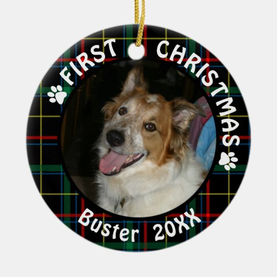 Dogs First Christmas Ornament.Dog First Christmas 2 Photo 2 Sided Plaid Ceramic Ornament
