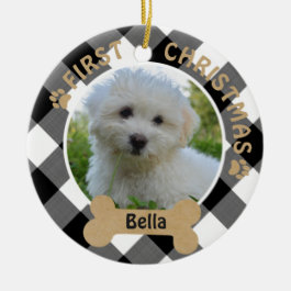 Dog FIRST CHRISTMAS 2-Sided 2-Photo Buffalo Check Ceramic Ornament