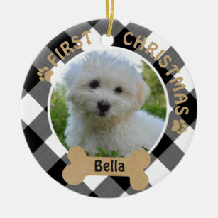 Dogs First Christmas Ornament.Dog First Christmas 2 Sided 2 Photo Buffalo Check Ceramic Ornament