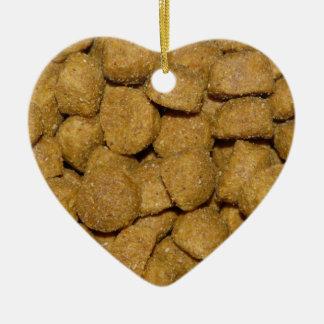 Dog Food! Crunchy Dry Pet Kibble Double-Sided Heart Ceramic Christmas Ornament