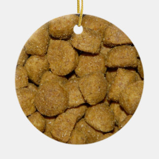 Dog Food! Crunchy Dry Pet Kibble Double-Sided Ceramic Round Christmas Ornament