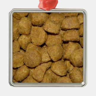 Dog Food! Crunchy Dry Pet Kibble Square Metal Christmas Ornament