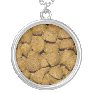Dog Food! Crunchy Dry Pet Kibble Silver Plated Necklace