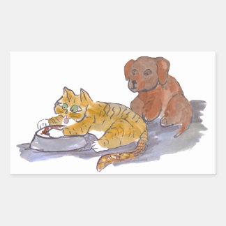 Dog Food, Yum, says Tiger Kitten Rectangular Sticker