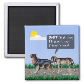 """Dog """"Friend Request"""" Magnets"""