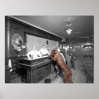 Dog Friendly Saloon Tavern Bar 1900 Photograph Poster