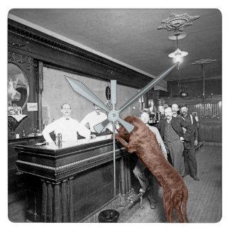 Dog Friendly Saloon Tavern Bar 1900 Photograph Square Wall Clock