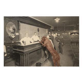 Dog Friendly Saloon Tavern Bar 1900 Photograph Wood Wall Art