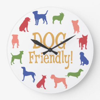Dog Friendly with different breeds in colors Large Clock