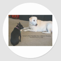 Dog Friendship Classic Round Sticker