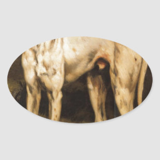 Dog from Ornans by Gustave Courbet Oval Sticker