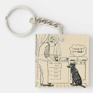 Dog Getting Older Double-Sided Square Acrylic Keychain