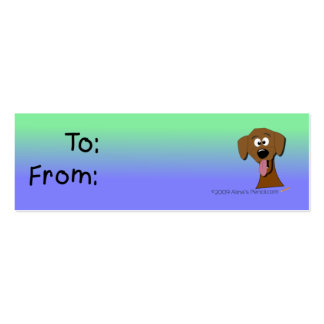Dog Gift Tag (Green and Blue) Double-Sided Mini Business Cards (Pack Of 20)