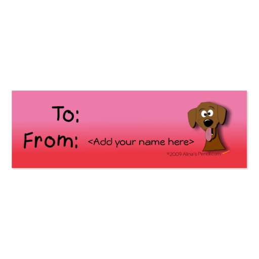 Dog gift tag pink and red template double sided mini for Dog tag business cards