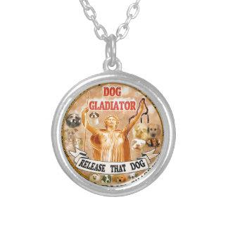 DOG GLADIATOR single Round Pendant Necklace