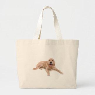 dog - golden retriever tote bags
