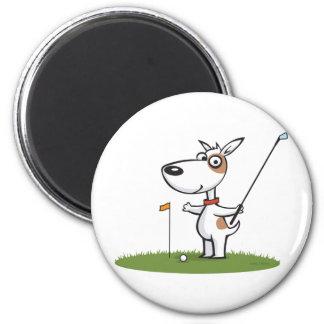 Dog Golf 2 Inch Round Magnet