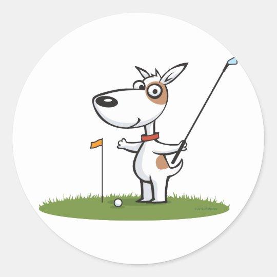 Dog Golf Classic Round Sticker
