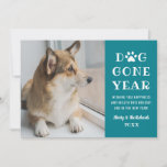 Dog Gone Year Funny Teal Pet Photo Holiday Card