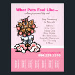 """Dog Groomer Ad Spa Yorkie Pink Tear Sheet<br><div class=""""desc"""">Promote your pet grooming business with these full color eye-catching flyers that you personalize with your own info. Original design by Andie,  illustrator and creator of Off-Leash Art™,  featuring her hand drawn salon themed Yorkie illustration.</div>"""