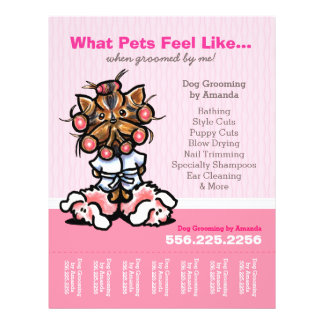 Dog Groomer Ad Spa Yorkie Pink Tear Sheet