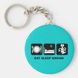 Dog groomer basic round button keychain