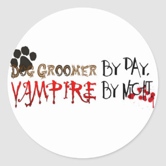 Dog Groomer by day, Vampire by night Classic Round Sticker