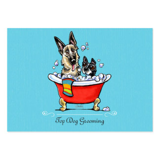 Dog Groomer Fancy Claw Foot Tub Blue Large Business Card