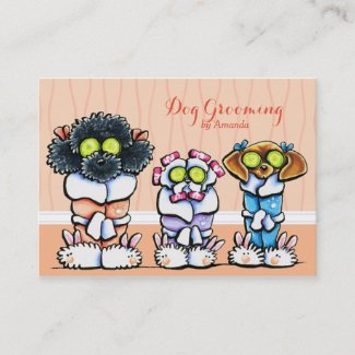Dog Groomer Grooming Dogs in Robes Peach Business Card