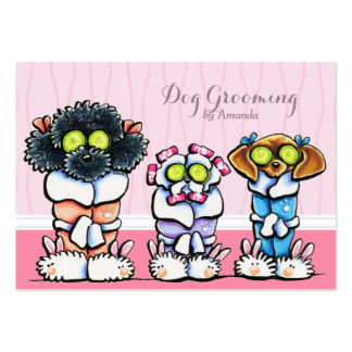 Dog Groomer Grooming Dogs in Robes Pink Large Business Card