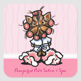 Dog Groomer Grooming Spa Yorkie Pink Marketing Square Stickers
